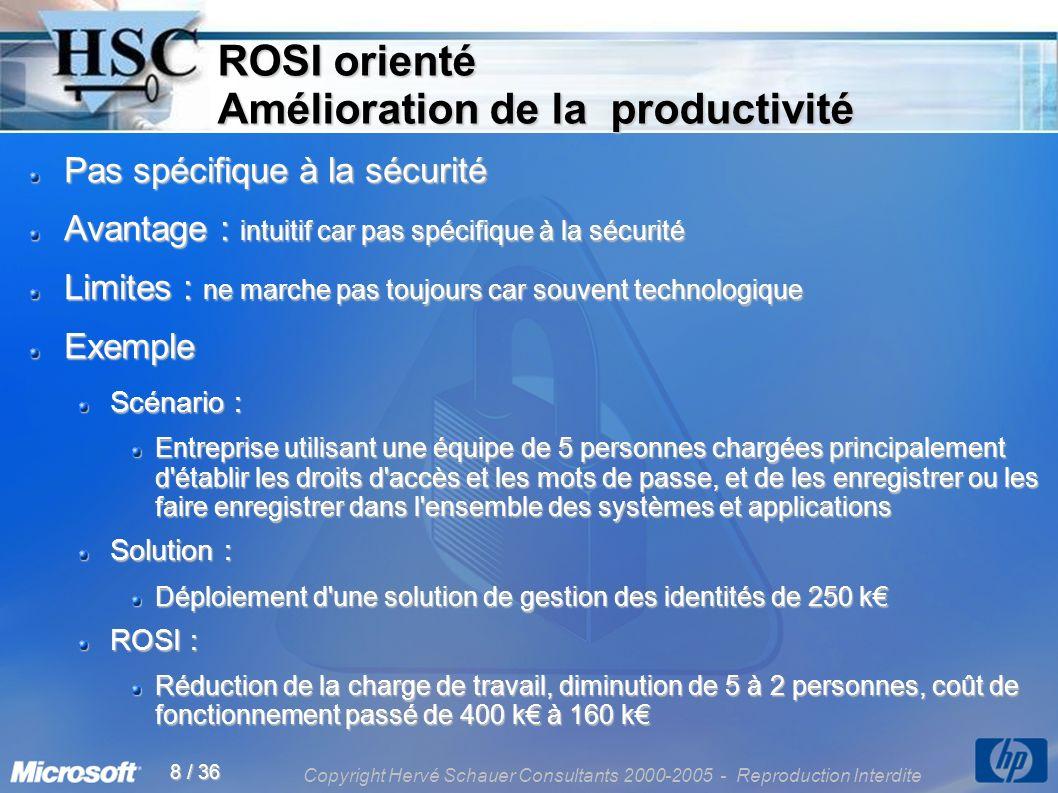 Copyright Hervé Schauer Consultants 2000-2005 - Reproduction Interdite 8 / 36 ROSI orienté Amélioration de la productivité Pas spécifique à la sécurit