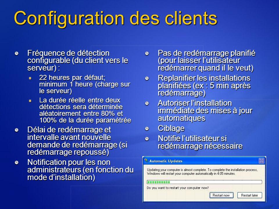 Configuration des clients Fréquence de détection configurable (du client vers le serveur) : 22 heures par défaut; minimum 1 heure (charge sur le serveur) La durée réelle entre deux détections sera déterminée aléatoirement entre 80% et 100% de la durée paramétrée Délai de redémarrage et intervalle avant nouvelle demande de redémarrage (si redémarrage repoussé) Notification pour les non administrateurs (en fonction du mode dinstallation) Pas de redémarrage planifié (pour laisser lutilisateur redémarrer quand il le veut) Replanifier les installations planifiées (ex : 5 min après redémarrage) Autoriser linstallation immédiate des mises à jour automatiques Ciblage Notifie lutilisateur si redémarrage nécessaire