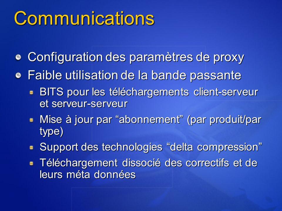 Communications Configuration des paramètres de proxy Faible utilisation de la bande passante BITS pour les téléchargements client-serveur et serveur-serveur Mise à jour par abonnement (par produit/par type) Support des technologies delta compression Téléchargement dissocié des correctifs et de leurs méta données