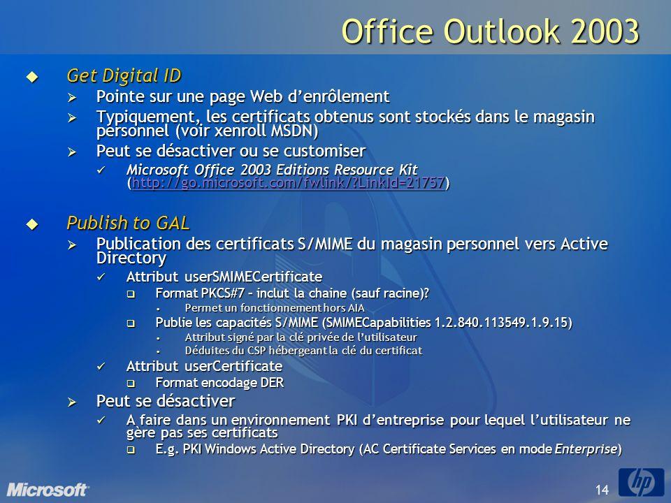 14 Office Outlook 2003 Get Digital ID Get Digital ID Pointe sur une page Web denrôlement Pointe sur une page Web denrôlement Typiquement, les certific