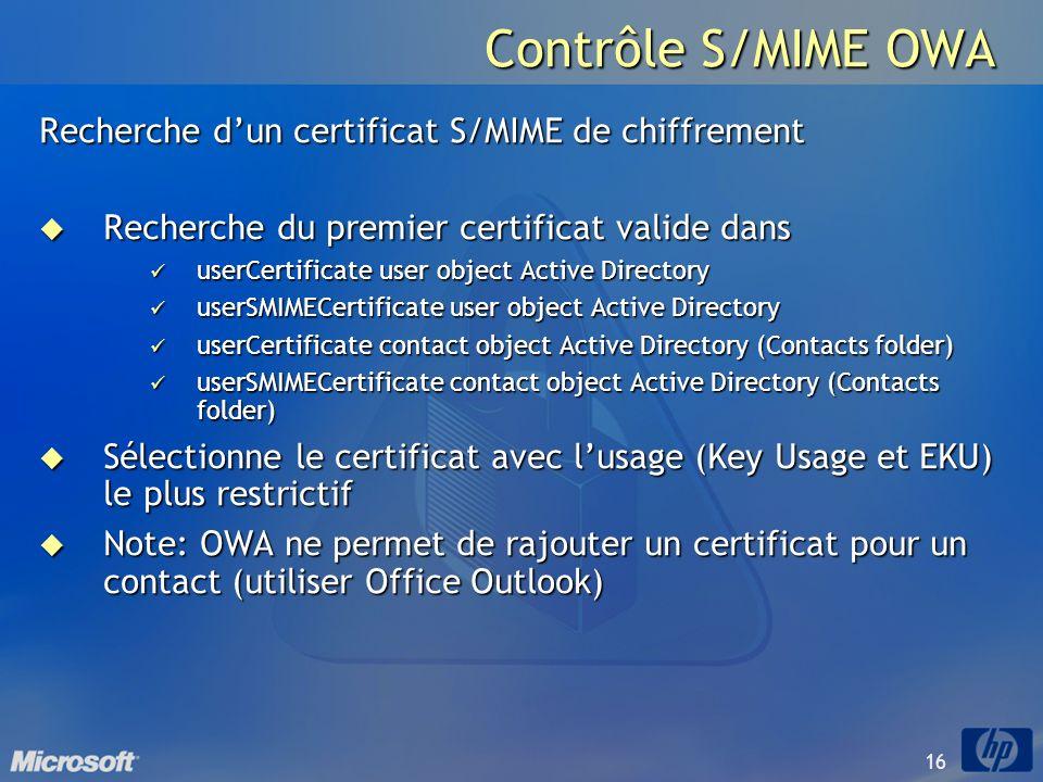 16 Contrôle S/MIME OWA Recherche dun certificat S/MIME de chiffrement Recherche du premier certificat valide dans Recherche du premier certificat vali
