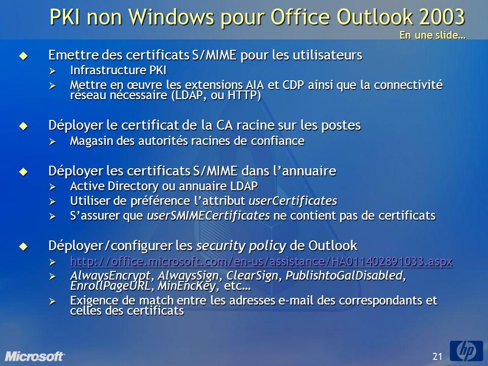 21 PKI non Windows pour Office Outlook 2003 En une slide… Emettre des certificats S/MIME pour les utilisateurs Emettre des certificats S/MIME pour les
