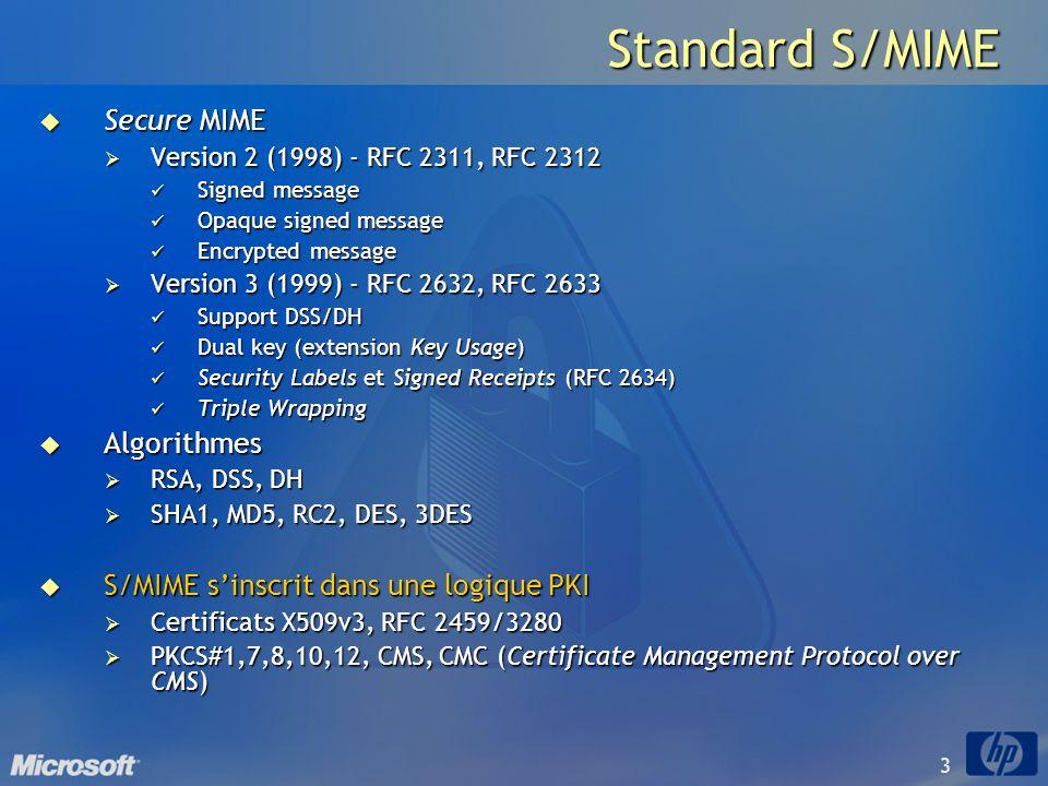 4 Standard S/MIME Corps MIME Content-Type application/pkcs7-mime Content-Type multipart/signed smime-type enveloped-data pkcs#7/CMS Base 64 smime.p7m smime-type signed-data pkcs#7/CMS Base 64 smime.p7m Texte en clair… Signature détachée pkcs#7/CMS Base 64 smime.p7s Content-Type text/plain Content-Type application/pkcs7-signature Corps MIME Message opaque Message clair Message chiffré ou signé/chiffré Nécessite client S/MIME Message signé Les entêtes RFC 822 (e.g.