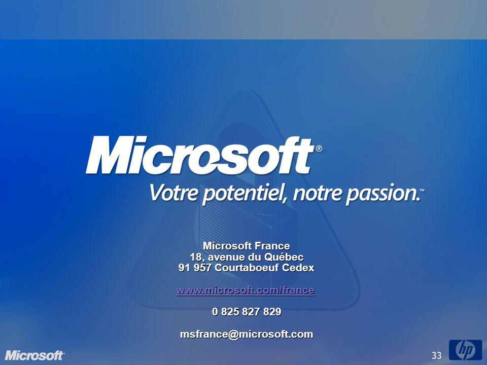 33 Microsoft France 18, avenue du Québec 91 957 Courtaboeuf Cedex www.microsoft.com/france 0 825 827 829 msfrance@microsoft.com