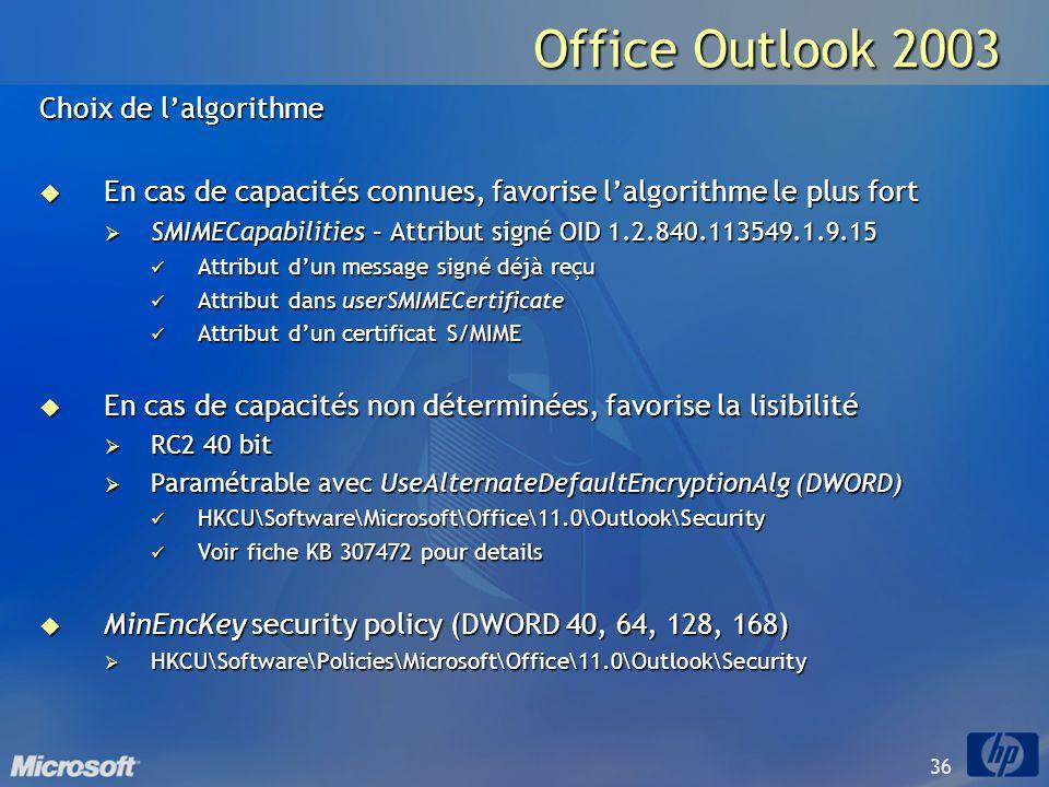 36 Office Outlook 2003 Choix de lalgorithme En cas de capacités connues, favorise lalgorithme le plus fort En cas de capacités connues, favorise lalgo