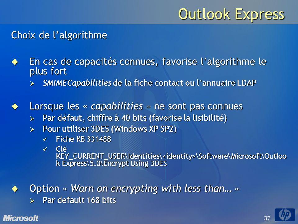 37 Outlook Express Choix de lalgorithme En cas de capacités connues, favorise lalgorithme le plus fort En cas de capacités connues, favorise lalgorith