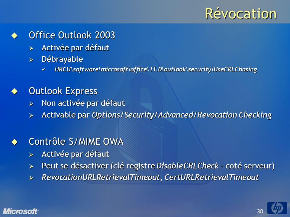 38 Révocation Office Outlook 2003 Office Outlook 2003 Activée par défaut Activée par défaut Débrayable Débrayable HKCU\software\microsoft\office\11.0\