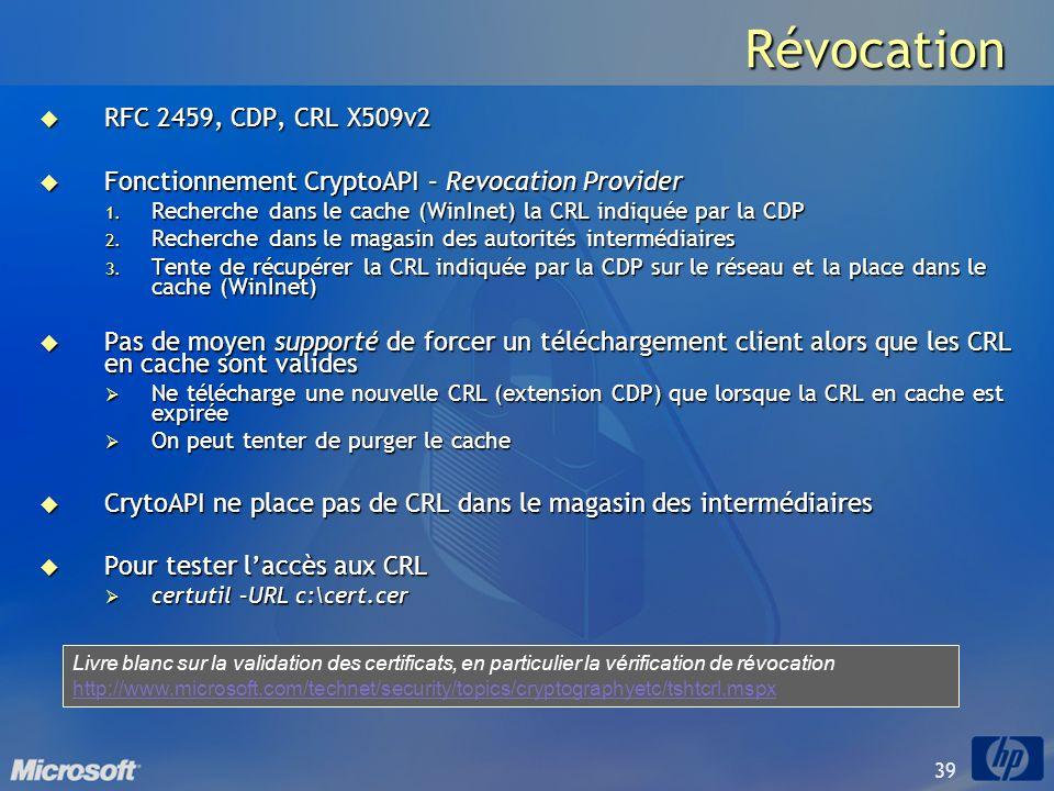 39 Révocation RFC 2459, CDP, CRL X509v2 RFC 2459, CDP, CRL X509v2 Fonctionnement CryptoAPI – Revocation Provider Fonctionnement CryptoAPI – Revocation