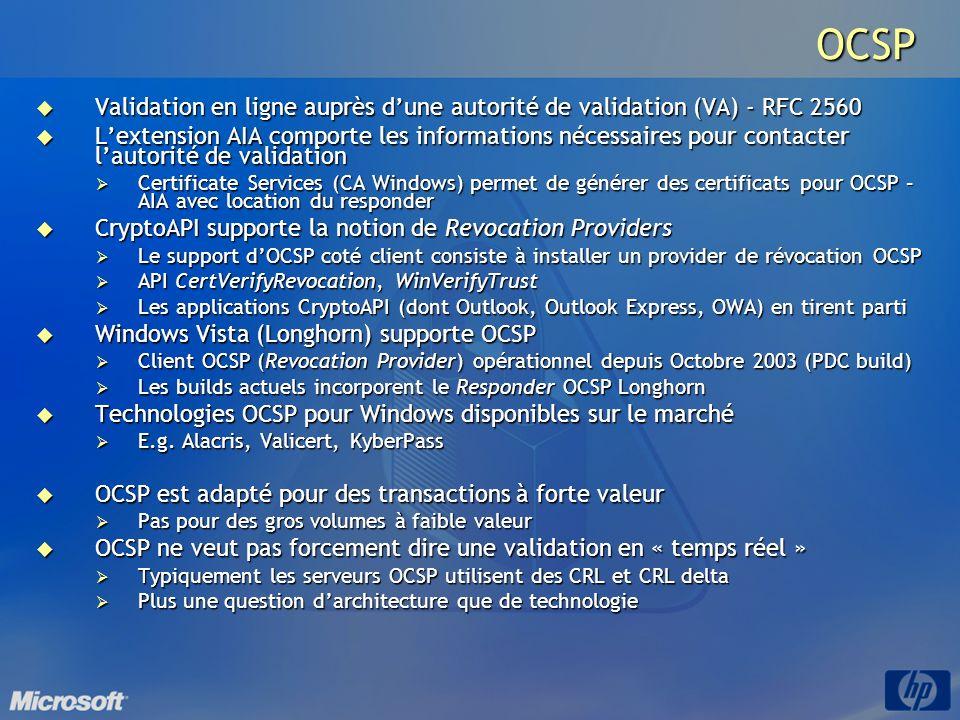 OCSP Validation en ligne auprès dune autorité de validation (VA) - RFC 2560 Validation en ligne auprès dune autorité de validation (VA) - RFC 2560 Lex