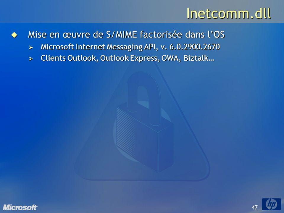 47 Inetcomm.dll Mise en œuvre de S/MIME factorisée dans lOS Mise en œuvre de S/MIME factorisée dans lOS Microsoft Internet Messaging API, v. 6.0.2900.