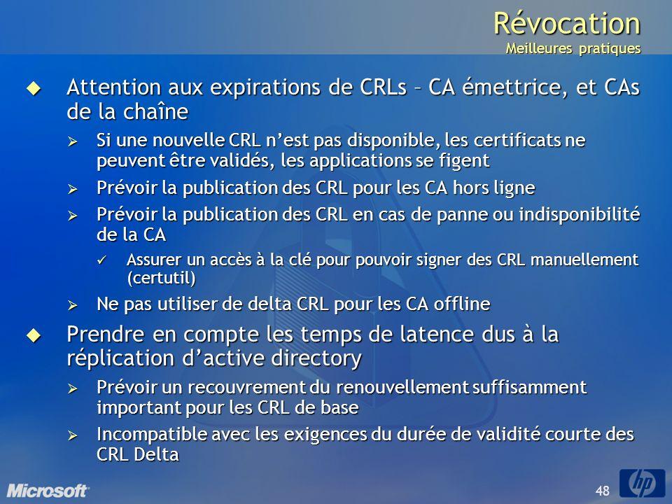 48 Révocation Meilleures pratiques Attention aux expirations de CRLs – CA émettrice, et CAs de la chaîne Attention aux expirations de CRLs – CA émettr