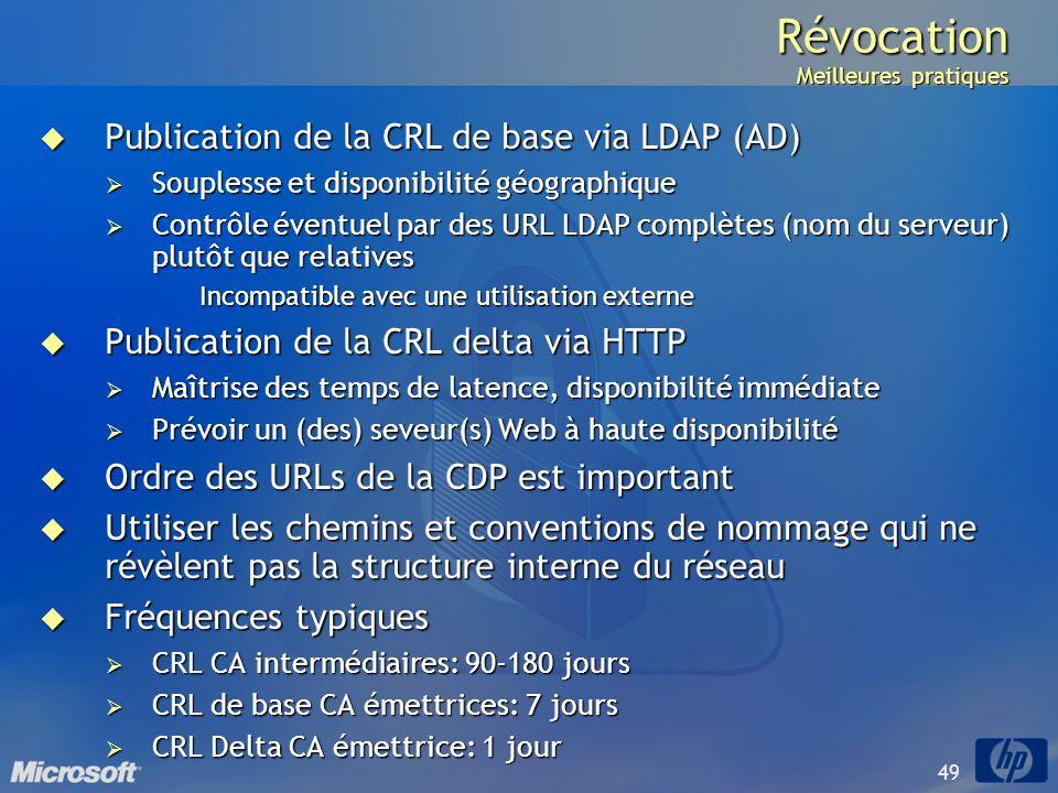 49 Révocation Meilleures pratiques Publication de la CRL de base via LDAP (AD) Publication de la CRL de base via LDAP (AD) Souplesse et disponibilité