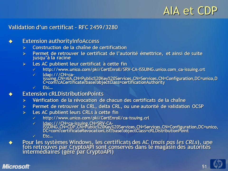 51 AIA et CDP Validation dun certificat – RFC 2459/3280 Extension authorityInfoAccess Extension authorityInfoAccess Construction de la chaîne de certi