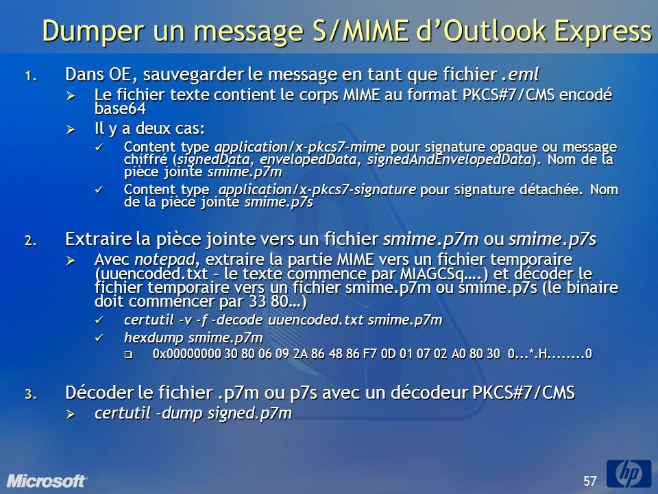 57 Dumper un message S/MIME dOutlook Express 1. Dans OE, sauvegarder le message en tant que fichier.eml Le fichier texte contient le corps MIME au for