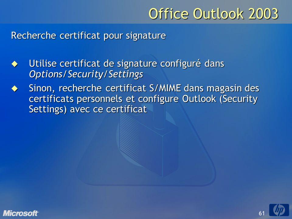 61 Office Outlook 2003 Recherche certificat pour signature Utilise certificat de signature configuré dans Options/Security/Settings Utilise certificat