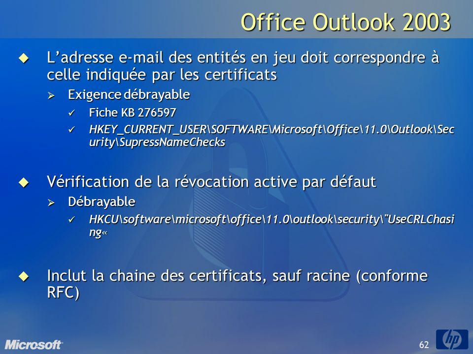 62 Office Outlook 2003 Ladresse e-mail des entités en jeu doit correspondre à celle indiquée par les certificats Ladresse e-mail des entités en jeu do