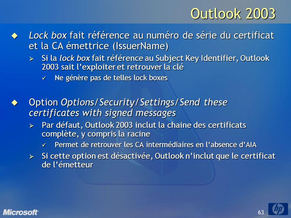 63 Outlook 2003 Lock box fait référence au numéro de série du certificat et la CA émettrice (IssuerName) Lock box fait référence au numéro de série du
