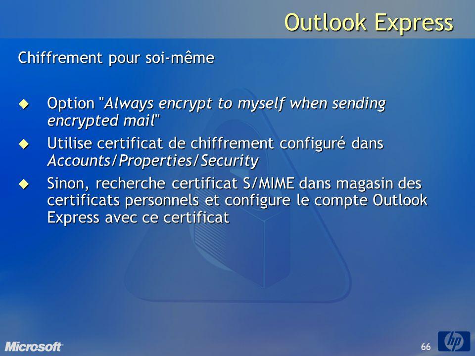 66 Outlook Express Chiffrement pour soi-même Option