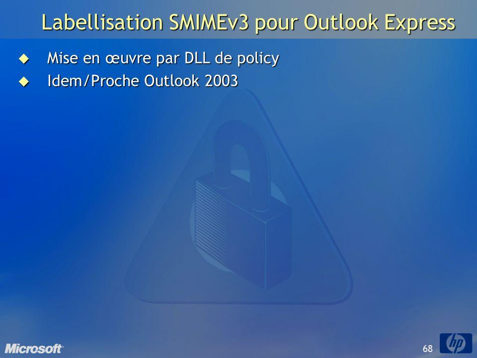 68 Labellisation SMIMEv3 pour Outlook Express Mise en œuvre par DLL de policy Mise en œuvre par DLL de policy Idem/Proche Outlook 2003 Idem/Proche Out
