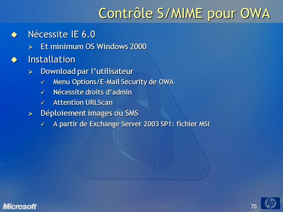 70 Contrôle S/MIME pour OWA Nécessite IE 6.0 Nécessite IE 6.0 Et minimum OS Windows 2000 Et minimum OS Windows 2000 Installation Installation Download