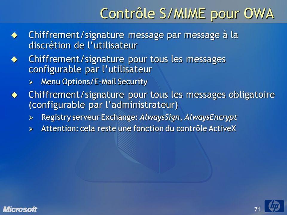 71 Contrôle S/MIME pour OWA Chiffrement/signature message par message à la discrétion de lutilisateur Chiffrement/signature message par message à la d
