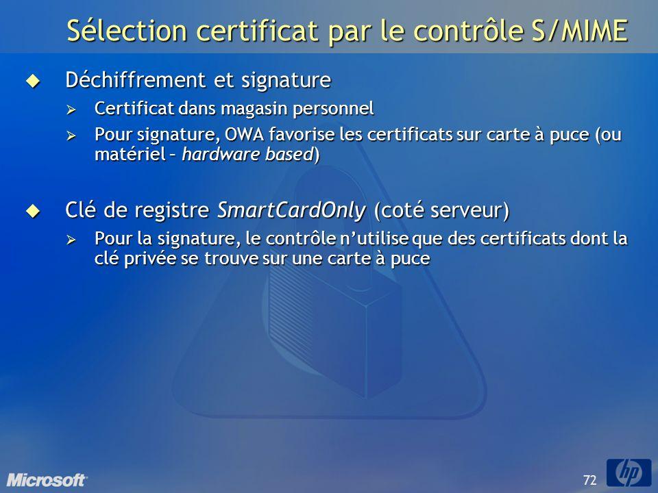 72 Sélection certificat par le contrôle S/MIME Déchiffrement et signature Déchiffrement et signature Certificat dans magasin personnel Certificat dans