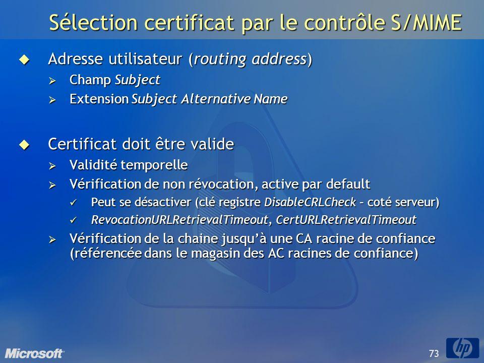 73 Sélection certificat par le contrôle S/MIME Adresse utilisateur (routing address) Adresse utilisateur (routing address) Champ Subject Champ Subject