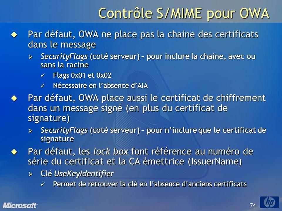 74 Contrôle S/MIME pour OWA Par défaut, OWA ne place pas la chaine des certificats dans le message Par défaut, OWA ne place pas la chaine des certific
