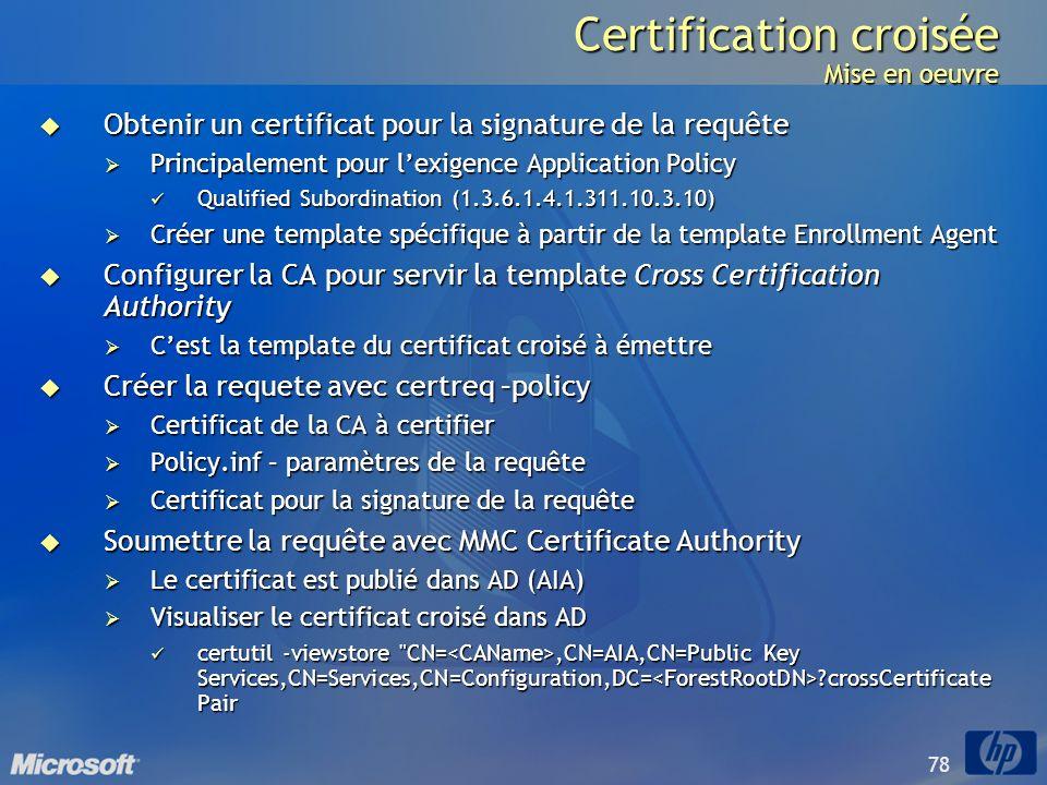 78 Certification croisée Mise en oeuvre Obtenir un certificat pour la signature de la requête Obtenir un certificat pour la signature de la requête Pr