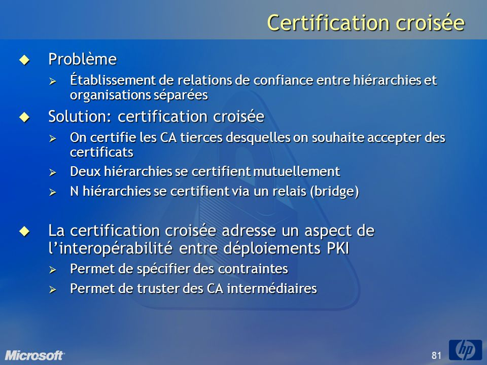 81 Certification croisée Problème Problème Établissement de relations de confiance entre hiérarchies et organisations séparées Établissement de relati