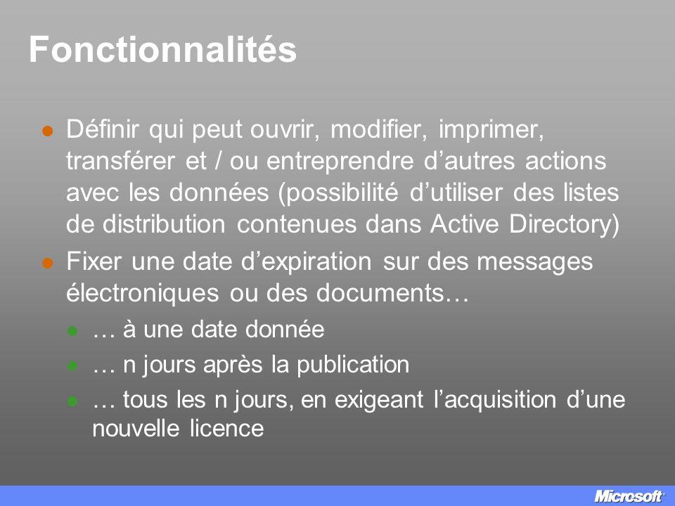 Fonctionnalités Définir qui peut ouvrir, modifier, imprimer, transférer et / ou entreprendre dautres actions avec les données (possibilité dutiliser d