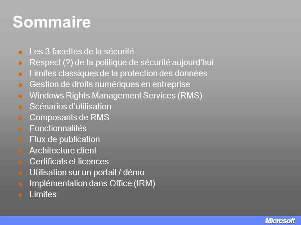 Sommaire Les 3 facettes de la sécurité Respect (?) de la politique de sécurité aujourdhui Limites classiques de la protection des données Gestion de d