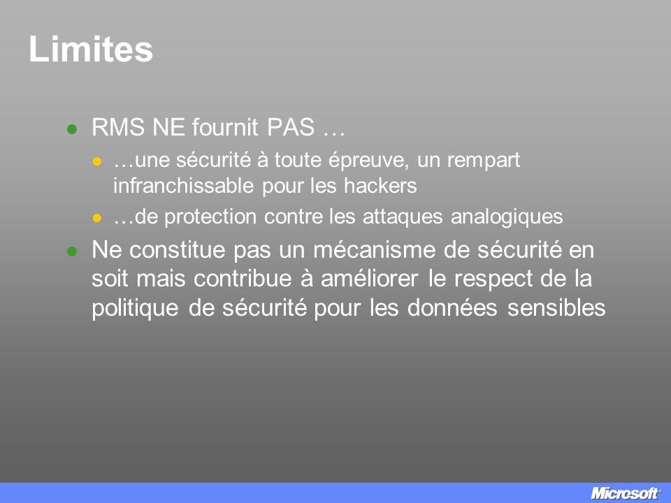 Limites RMS NE fournit PAS … …une sécurité à toute épreuve, un rempart infranchissable pour les hackers …de protection contre les attaques analogiques
