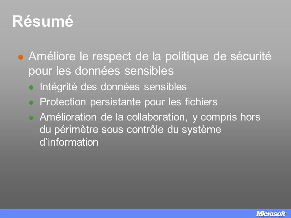 Résumé Améliore le respect de la politique de sécurité pour les données sensibles Intégrité des données sensibles Protection persistante pour les fich