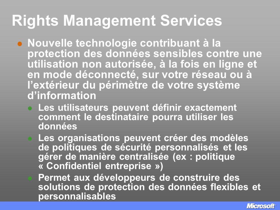 Rights Management Services Nouvelle technologie contribuant à la protection des données sensibles contre une utilisation non autorisée, à la fois en l