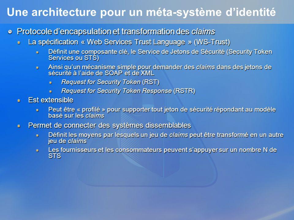 Une architecture pour un méta-système didentité Protocole dencapsulation et transformation des claims La spécification « Web Services Trust Language » (WS-Trust) Définit une composante clé, le Service de Jetons de Sécurité (Security Token Services ou STS) Ainsi quun mécanisme simple pour demander des claims dans des jetons de sécurité à laide de SOAP et de XML Request for Security Token (RST) Request for Security Token Response (RSTR) Est extensible Peut être « profilé » pour supporter tout jeton de sécurité répondant au modèle basé sur les claims Permet de connecter des systèmes dissemblables Définit les moyens par lesquels un jeu de claims peut être transformé en un autre jeu de claims Les fournisseurs et les consommateurs peuvent sappuyer sur un nombre N de STS