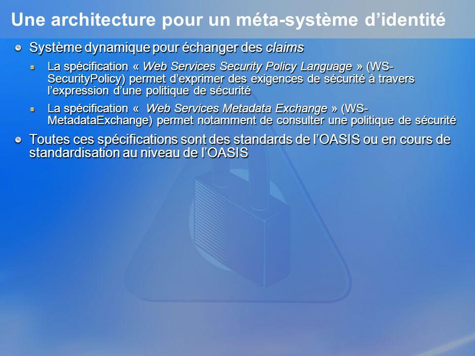 Une architecture pour un méta-système didentité Système dynamique pour échanger des claims La spécification « Web Services Security Policy Language » (WS- SecurityPolicy) permet dexprimer des exigences de sécurité à travers lexpression dune politique de sécurité La spécification « Web Services Metadata Exchange » (WS- MetadataExchange) permet notamment de consulter une politique de sécurité Toutes ces spécifications sont des standards de lOASIS ou en cours de standardisation au niveau de lOASIS