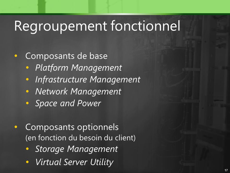 Regroupement fonctionnel Composants de base Platform Management Infrastructure Management Network Management Space and Power Composants optionnels (en