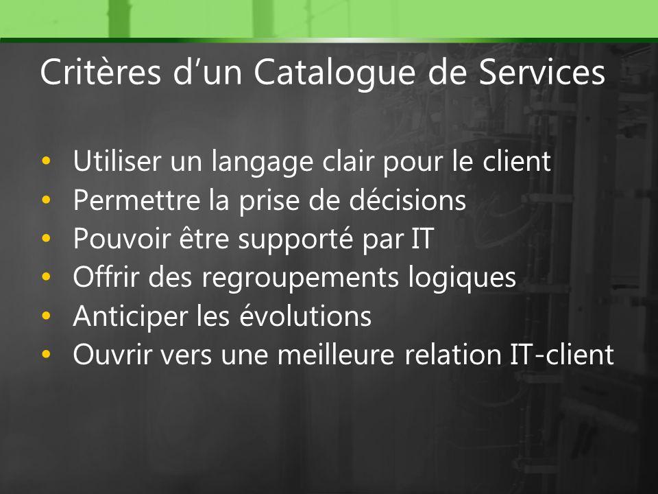 Utiliser un langage clair pour le client Permettre la prise de décisions Pouvoir être supporté par IT Offrir des regroupements logiques Anticiper les