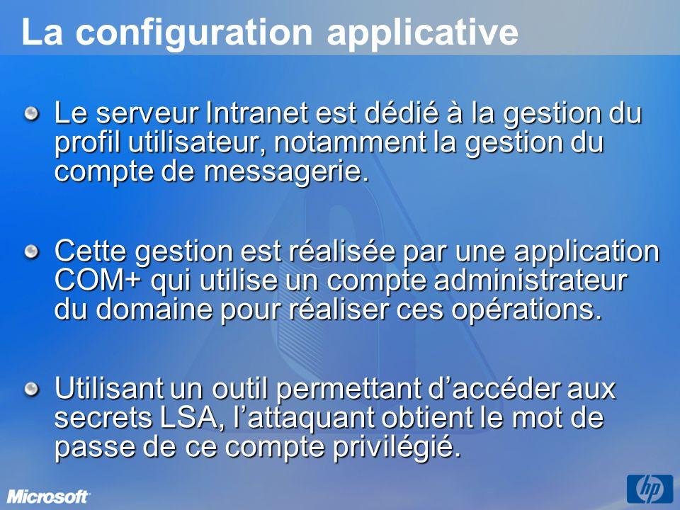 La configuration applicative Le serveur Intranet est dédié à la gestion du profil utilisateur, notamment la gestion du compte de messagerie. Cette ges