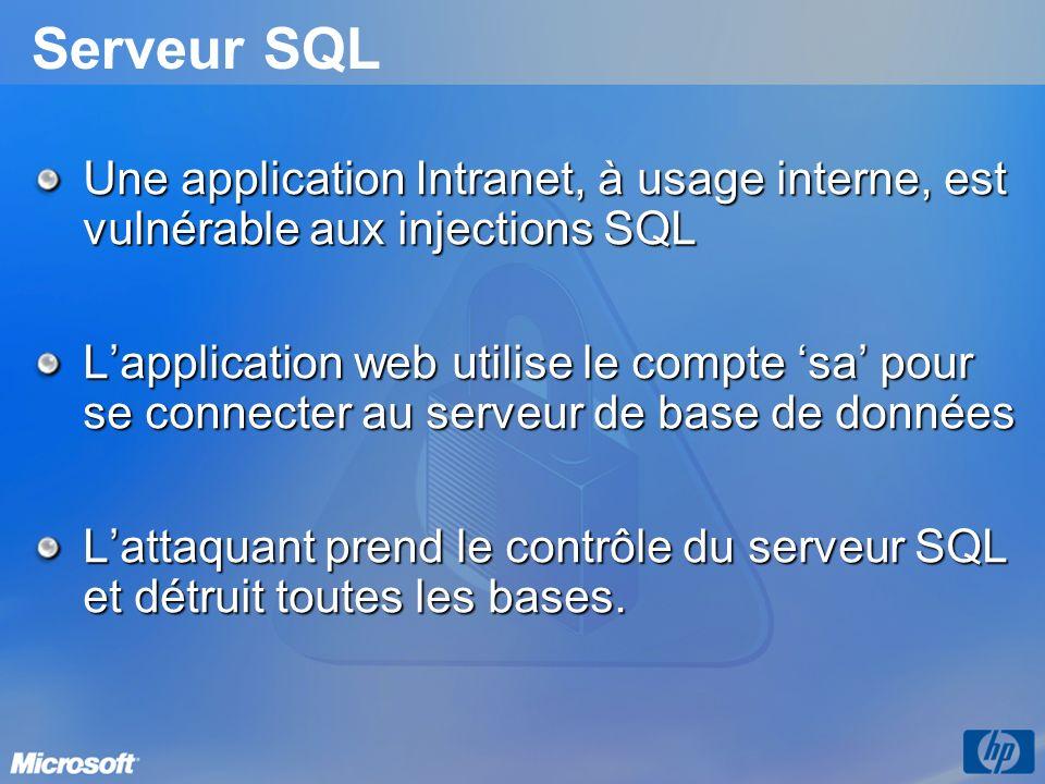 Serveur SQL Une application Intranet, à usage interne, est vulnérable aux injections SQL Lapplication web utilise le compte sa pour se connecter au se