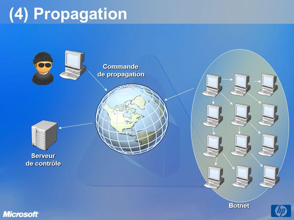 (5) Botnet prêt Serveur de contrôle Commande de propagation Botnet