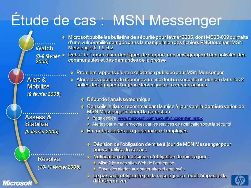 Microsoft publie les bulletins de sécurité pour février 2005, dont MS05-009 qui traite dune vulnérabilité corrigée dans la manipulation des fichiers PNG touchant MSN Messenger 6.1 & 6.2 Début de lobservation des lignes de support, des newsgroups et des activités des communautés et des demandes de la presse Premiers rapports dune exploitation publique pour MSN Messenger Alerte des équipes de réponse à un incident de sécurité et réunion dans les 2 salles des équipes durgence techniques et communications Décision de lobligation de mise à jour de MSN Messenger pour pouvoir utiliser le service Notification de la décision dobligation de mise à jour : Mise à jour des sites Web de lentreprise Envoi des alertes aux partenaires et employés Le passage obligatoire par la mise à jour a réduit limpact et la diffusion du ver Étude de cas : MSN Messenger Watch (8-9 février 2005) Alert & Mobilize (9 février 2005) Resolve (10-11 février 2005) Assess & Stabilize (9 février 2005) Début de lanalyse technique Conseils initiaux, recommandant la mise à jour vers la dernière verion de MSN Messenger incluant la correction Page dédiée www.microsoft.com/security/incident/im.mspx www.microsoft.com/security/incident/im.mspx Alertes par e-mail envoyées par les services de notification pour la sécurité Envoi des alertes aux partenaires et employés