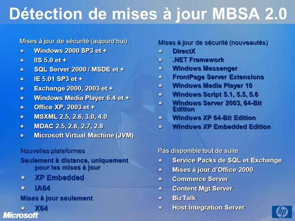 Détection de mises à jour MBSA 2.0 Mises à jour de sécurité (aujourdhui) Windows 2000 SP3 et + IIS 5.0 et + SQL Server 2000 / MSDE et + IE 5.01 SP3 et + Exchange 2000, 2003 et + Windows Media Player 6.4 et + Office XP, 2003 et + MSXML 2.5, 2.6, 3.0, 4.0 MDAC 2.5, 2.6, 2.7, 2.8 Microsoft Virtual Machine (JVM) Nouvelles plateformes Seulement à distance, uniquement pour les mises à jour XP Embedded IA64 Mises à jour seulement X64 Pas disponible tout de suite Service Packs de SQL et Exchange Mises à jour dOffice 2000 Commerce Server Content Mgt Server BizTalk Host Integration Server Mises à jour de sécurité (nouveautés) DirectX.NET Framework Windows Messenger FrontPage Server Extensions Windows Media Player 10 Windows Script 5.1, 5.5, 5.6 Windows Server 2003, 64-Bit Edition Windows XP 64-Bit Edition Windows XP Embedded Edition