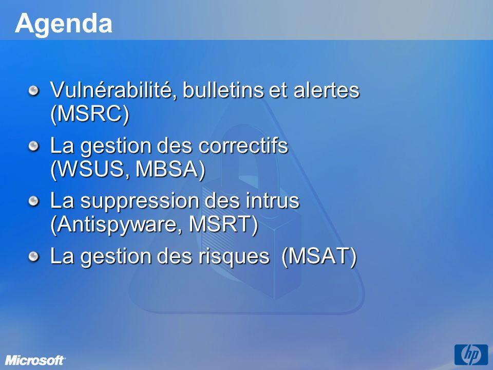 Agenda Vulnérabilité, bulletins et alertes (MSRC) La gestion des correctifs (WSUS, MBSA) La suppression des intrus (Antispyware, MSRT) La gestion des risques (MSAT)