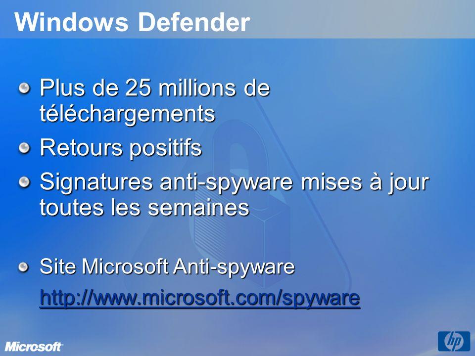 Windows Defender Plus de 25 millions de téléchargements Retours positifs Signatures anti-spyware mises à jour toutes les semaines Site Microsoft Anti-spyware http://www.microsoft.com/spyware