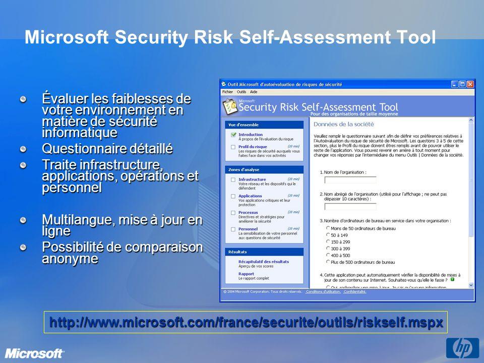 Microsoft Security Risk Self-Assessment Tool Évaluer les faiblesses de votre environnement en matière de sécurité informatique Questionnaire détaillé Traite infrastructure, applications, opérations et personnel Multilangue, mise à jour en ligne Possibilité de comparaison anonyme http://www.microsoft.com/france/securite/outils/riskself.mspx