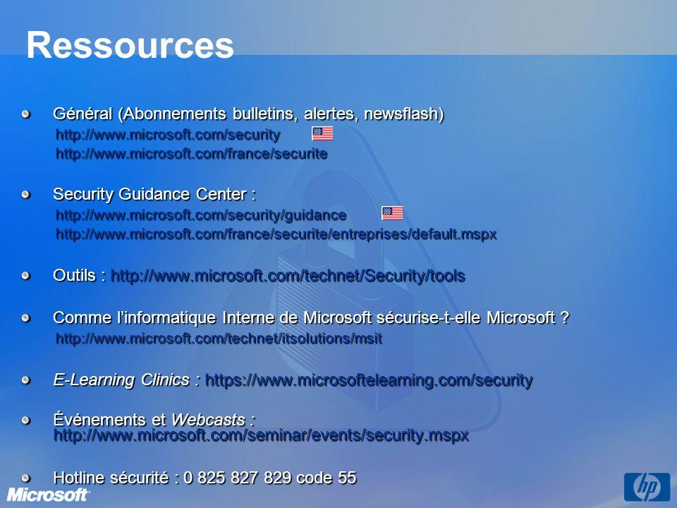 Ressources Général (Abonnements bulletins, alertes, newsflash) http://www.microsoft.com/securityhttp://www.microsoft.com/france/securite Security Guidance Center : http://www.microsoft.com/security/guidancehttp://www.microsoft.com/france/securite/entreprises/default.mspx Outils : http://www.microsoft.com/technet/Security/tools Comme linformatique Interne de Microsoft sécurise-t-elle Microsoft .