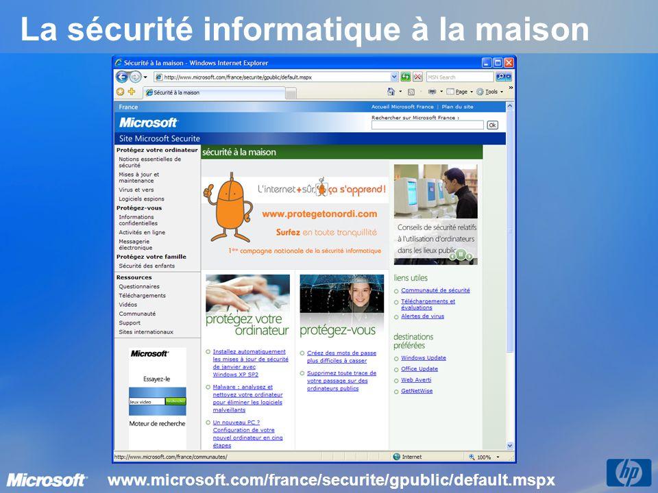 La sécurité informatique à la maison www.microsoft.com/france/securite/gpublic/default.mspx