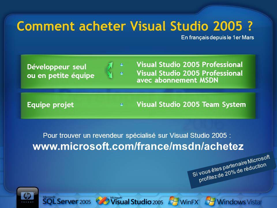 Comment acheter Visual Studio 2005 ? Développeur seul ou en petite équipe Visual Studio 2005 Professional Visual Studio 2005 Professional avec abonnem
